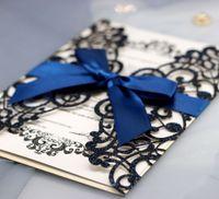 Láser de lujo Láser Corte Invitaciones de boda Papel de tarjeta con sobres de cinta Personalizar Partido de Halloween Decoración de la boda GWE8768
