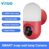 IP Camera 1080P di sorveglianza HD WIFI PTZ rotazione casa Motion Detection Smart Alarm Camera Cortile Lampada da parete di illuminazione