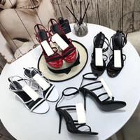 Дизайнерские женские сандалии партия моды заклепки танец обувь новых сексуальных каблуков супер 10см леди свадебные металлические ремня пряжка высокий каблук женщина обувь большой размер 35-40-42 US4-US11 с коробкой
