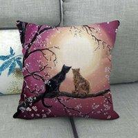 Flores de cerezo Estuche de almohada de impresión Patrón de gato encantador Cojín de moda Cojines de moda Decoración del hogar Nuevo 4 2JW J2