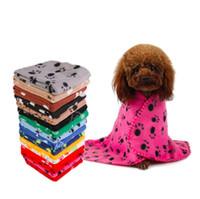 60 * 70cm Couverture douce pour chien de compagnie Petite patte imprimé Toile de chiot Chauffe Couvertures Couvertures Coussin Coussin Coussin Pet Sleep Pad Support