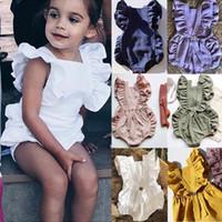 Sólido macacão de bebê 6 cores Ruffle Lace Romper infantil mangas sólida Botão Macacões Elastic Bebê Onesies Vêtements Bébé 6-24M