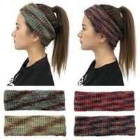 Crochet Tie Dye Serre-tête coloré tricot oreille Bandeau hiver chaud bande élastique large cheveux Accessoires cheveux HHA1641