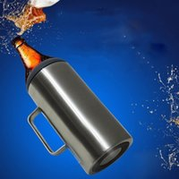 64oz süper büyük kapasiteli şişe paslanmaz çelik vakum 2.0L soğuk depolama bira kola saklayabilir