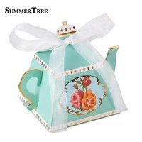 20 50 100pcs Candy Boxes Time Theme Teapot Shape Wedding Favors Gifts Box Bridal Baby Shower Birthday Party Decoration
