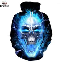 Felpe con cappuccio da uomo Felpe 2021 Uomini Donne Donne Blu Flame Scheletro Skull 3D Hoodie Hoody Pullover Streetwear Tracksuit Plus EUR Taglia S-3XL1