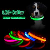 USB النايلون كلب كلب الياقات 8 ألوان 4sizes ليلة السلامة الصمام ضوء وامض طوق الوهج مكافحة خسر / تجنب حادث سيارة المقود فلاش الحيوانات الأليفة إكسسوال dhl مجانا