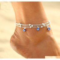 S1604 الأزياء الساخنة مجوهرات متعدد الطبقات خلخال التركية الأزرق العين قلادة مطرز الكاحل sqcvwf dh_seller2010