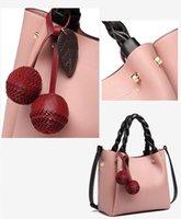 Alta Qualidade e Doce PU Couro Bucket Bag Mulheres Messenger Bag Moda Grande Capacidade Colora Sólida Bolsa De Cereja Embelezamento Bolso