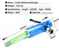 7 '' Shisha Hookah Tube Tubulações Pequenas Tubos de Alumínio Acrílico Tubulação de Metal Tubulação Portátil Acessórios Para Fumar Atacado 185mm Comprimento