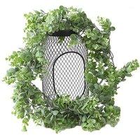 Dekoratif Çiçekler Çelenk Kapı Asma Yapay Bitkiler Yanlış Ivy Asılı Garland Düğün Parti Yaprakları Ev Bar Bahçe Duvar Dekorasyon1