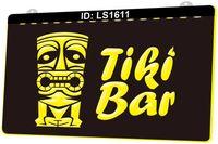 LS1611 Tiki Bar Mask Pub Club 3D Engraving LED Light Sign Wholesale Retail