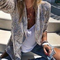 Paillettes Blazers Femmes Manches longues Manches Blazer Blazer Manteau Silver Sequin Bureau Blazer Jacket Femme Chemise D40 201110