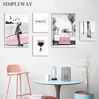 Spiaggia Pink Surfboard Surf Paesaggio Moda Poster Nordic Wall Art Canvas Stampa Vogue Painting Modern Girls Room Decoration Picture1