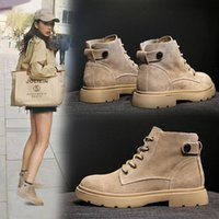 Femmes Army Combat Bottes cheville Chaussures Femme Gothique Casual lacent Nubuck Bottes moto cuir Mode Botas Mujer