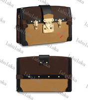 M43596 Kofferraumkupplung Frauen Dame Smooth Calf-Leder Trim Designer Canvas Handtasche Geldbörse Crossbody Abend Umhängetasche