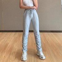 Женщины Повседневная Сыпучие кулиской Waistband Длинные брюки Брюки Дамы Спорт высокой талией плиссированные Slim Fit Sweatpants