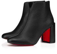 Zarif Kış Marka Kadın Castarika Boots Moda Kırmızı Alt Ayak bileği Patik Lady Ganimet Chunky Topuklar Konfor Parti Düğün Kırmızı Sole Patik