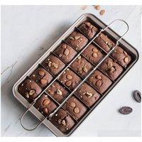 Profissional Bakeware 18 Cavidade Ferramentas Ferramentas Fácil Limpeza Quadrado Lattice Bolo De Chocolate Molde Brownie Broking Pan Non-Stick T200111 FVIP6