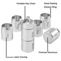 열쇠 고리 컨테이너 금속 의학 상자 스테인레스 스틸 홀더 방수 알약 케이스 상자 GWE8175