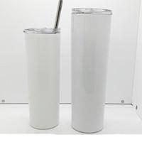 20 Unzen 30 Unzen Sublimation Gerade dünne Tumbler 20 Unzen 30 Unzen Edelstahl leere weiße dünne Schale mit Vakuum-Wasserflasche Kaffeetasse Deckel Stroh