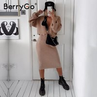BerryGo Sexy v-neck women knitted dress elegant Autumn winter two piece dress set Club party chic female sweater vestidos