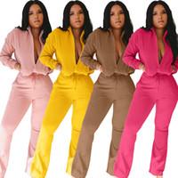 Mulheres moda roupas calças outono e inverno o listagem casual zíper macacão mangas compridas esportes