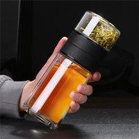 520ml 200ml 유리 물병 차 필터 스트레이너 이중 벽 휴대용 여행 커피 주입기 병 Drinkware Teapot 201126