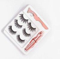 3pairs Ciglia magnetici False Lashes + eyeliner liquido + pinzette di trucco degli occhi impostato magnete 3D Ciglia finte. DISPONIBILE