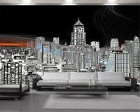 City Landscape 3D Fond d'écran Beau-haussement Building 3D Fond d'écran Romantique Paysage décoratif de la soie 3D Mural Fond d'écran