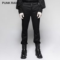 Punk Rave Steampunk caballero a rayas Hombres tejidos Pantalones Pantalones Góticos Vintage Placa Mid Cintura Botón Pantalones rectos Pantalones Etapa de escenario1