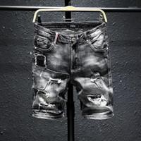 Männer Grau Denim Shorts Neue Sommerlöcher Schwarz Kurze Jeans Hohe Qualität Männer Baumwolle Stretch Jean Shorts Knielange Jeans Größe 361