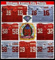 Vintage Herren 75th Len Dawson 19 Joe Montana 32 Marcus Allen 58 Derrick Thomas Fußball-Trikots Nähte Hemden Stickerei Günstige Rot AC1