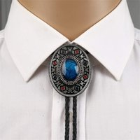 Hecho a mano Southwest Totem Aquamarine Western Cowboy Bolo Tie para camisa Corbatas Collar de metal Joyería 201028