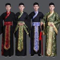Стадия носить древний китайский костюм мужской наряд производительности для династии Hanfu атласный халат традиционное платье