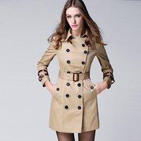 Женские куртки женские пальто высокого класса британский стиль пальто двойной погружной женской веткой для женской элегантной траншеи 201031