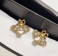 2021 Nuovo stile retrò orecchini ape orecchini da donna con strass insetto ape orecchini d'ape oro bronzo gioielli di moda per partito regalo spedizione gratuita