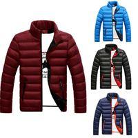 Winter Men Down Coat Slim Fit Cotton Thicken Portability Warm Outwear Male Zipper Quilted Clothing Coats Plus Size 4 Colors1 Men's & Parkas