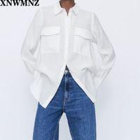 Xnwmnz za mujer camisa larga wth bolsillos femeninos casual cuello regular de las mangas largas y espeluznantes para arriba camisas de largo 201202