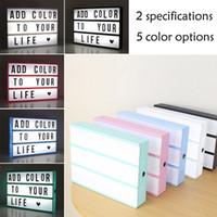 Led Light Box Letras DIY Lightbox Cartas Pretas Cartas Combinação Night Light A4 / A6 Branco Rosa Preto Usb Powered Cinema Lâmpada 201028