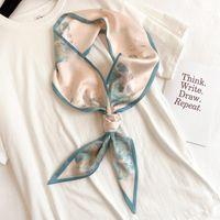 스카프 2021 여성 실크 오븐 스키니 스카프 목에 대 한 풀라드 헤드 밴드 꽃 무늬 레이디 neckerchief 가방 리본 칼라 tie1