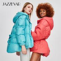 Jazzevar Winter New Fashion Street Designer Marque Femme Blanc Duck Down Down Jolie Filles Vêtements de dessus Vêtements de dessus avec ceinture Y201012