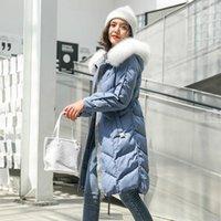Damen Winter Daunenjacke Lange Mantel Weibliche Jacke Waschbär Hund Pelzkragen Warme Dicke Frauen Parkas 2020 ABRIGO MUJER PPH13261