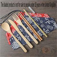 Portátil Faca Ar Livre Acampamento talheres de bambu Fork Restaurant completa Louça Chopsticks Retro 7 Piece Set F2 6 9ym