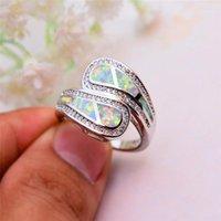 Cluster anéis de luxo feminino branco fêmea azul fogo anel opala original cor prata banda casamento promessa compromisso para mulheres1
