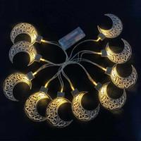 10 светодиодные Ramadan String Eid Mubarak Moon Star Foreged аккумуляторная батарея теплая светлая фея струны домашнего декора HHA3534