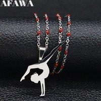 قلادة القلائد 2021 الباليه المقاوم للصدأ الأحمر قلادة سلسلة النساء الفضة اللون راقص المعلقات مجوهرات collares موهير N19789