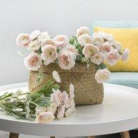 Декоративные цветы Венки 2021 Красивая искусственная Англия Ranunculus Asiaticus Rose Silk Флорес для домашнего стола Украшение 3 головы поддельные