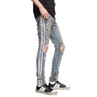 Новый стиль Mens конструктора Jeans Silver Stripe Zipper осени джинсы высокого качества вскользь Мужчины Байкер Джинсовые брюки синий брюки IT Размер 44-54