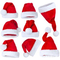 소년 소녀 성인 크리스마스 선물 고품질 소프트 모자 헤어 액세서리 RRA3733 흰색 수갑 파티 모자와 봉제 레드 벨벳 산타 모자